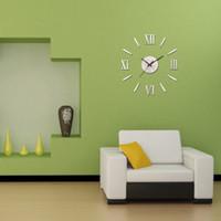 Wholesale Analog Timers - Wholesale-Mirror Wall Clock Metallic 3D Wall Clocks Modern DIY Design Decorative Stickers Roman Numeral Analog Quartz Timer New Year 2017