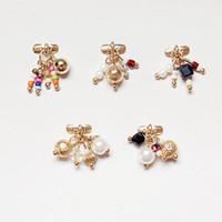 Wholesale Diamond Pearl Nail Art - Nail Art Decorations Nail Arts Metal Diamonds Pearl Bead Light Therapy Nails Alloy Jewelrys Jewelry Tassel Pendant tool