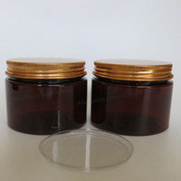 Wholesale Cosmetic Jars Gram - 20 x 150 gram Amber Empty Plastic Jar With Gold Aluminum Lids Makeup Cosmetic Packaging Hand Cream Containers Facial mask Jars