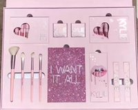 Wholesale Birthday Book - Retail Link Dropshiping 2017 Kylie Pink Birthday Edition Book set Makeup Kit Big Box Set I WANT IT ALL 4pcs Pink Brush Turns 20 20th