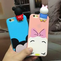 Wholesale Oppo Cases - 3D Cute Cartoon Mickey Minnie Mouse Winnie Daisy Lying Case Soft Silicone Anti knock Cover for iPhone 7 6 6s Plus 5s se OPPO R9s Plus