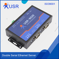 Wholesale Serial Ethernet Tcp Ip - Wholesale- Q039 USR-N520 Serial RS232 RS485 RS422 to Ethernet Server TCP IP Double Ports Converter Serial Device Support DHCP and DNS