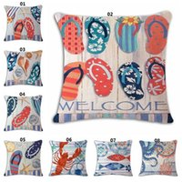 Wholesale Knitting Octopus - Summer Beach Slippers Print Decorative Throw Pillowcase Pillow Cover Cushion Cover Sofa Home Decor Ocean Pattern Octopus Turtle Printed
