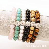 Wholesale Natural Diamond Bracelet 14k - The explosion of molten rock natural stone agate bracelet Xiangbala beaded jewelry diamond ball head
