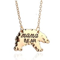 Wholesale Cute Lettering - Hot Sale Cute animal necklace jewelry wholesale Bear necklace Mama bear Lettering handmade necklace Warm motherly love Christmas gift