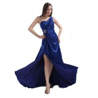 Wholesale Evening Dress Thin Straps - 2017 Vestido de noche Attractive Blue Dress Ladies Evening Beaded Thin Straps Satin Special Occasion Split Dress