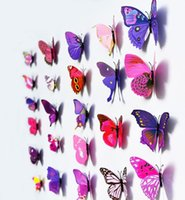 Wholesale Butterfly Bathroom Decor - 3D butterfly decoration wall stickers 12pc 3D wall art home decor PVC removable wall stickers decors fake animal glass decoration QT001