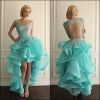 Wholesale Champagne Royal Blue Colors - Mint Green 2017 Fashion High Low Ruffle Prom Dresses Sheer Neck Two Colors Lace Appliques Short Front Backless Formal Party Gowns for 15