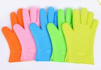 isıya dayanıklı silikon barbekü eldivenleri toptan satış-Yeni Varış Gıda sınıfı Isıya Dayanıklı kalın Silikon Mutfak barbekü fırın eldiven Pişirme BARBEKÜ Izgara Eldiven Fırın Mitt Pişirme eldiven