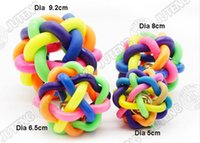 Wholesale Wholesale Rubber Ball Dog - JTY041 Dia 5cm 6.5cm 8cm Pet Rubber Braided Rope Ball Chew Knot Toy Dog Cat Toy For Puppy Small Medium Large Dogs