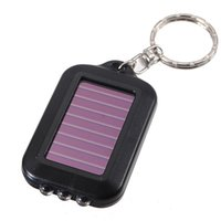 Wholesale Solar Powered Light Key Chains - Mini Portable Solar Power Rechargeable 3 LED Flashlight Keychain Light Torch Ring Holder