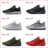 Wholesale Classic Walking Shoes - Best New Mens Sneakers Shoes classic 97 Men Running Shoes Black White Trainer Air Cushion Breathable Man Walking Sports Shoes