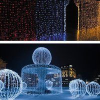 Wholesale Moon Stars Decor - 1600 LED lights 10*5m Curtain Lights, led Lighting Strings Flash Fairy Festival Party light Christmas light wedding Decor