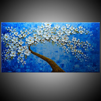 Wholesale large handmade flowers - KGTECH Palette Knife Flower Artwork 3D Acrylic Painting Handmade Canvas Art Wall White Floral Large Size 28Hx56inch(70x140cm)