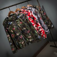 Wholesale Camouflage Varsity Jacket - Wholesale- Boys fashion thin 3D butterfly hoode jackets and coats camouflage men women harajuku casual varsity bomber jacket windbreaker