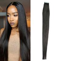 siyah atkı insan saç uzantıları toptan satış-Düz Cilt Atkı Bakire Remy Bant Saç Uzatma Doğal Siyah Brezilyalı Düz Saç İnsan Saç 40 adet 100g Bant