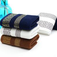 Wholesale baby sheets towels resale online - Large Bath Sheet Bath Towel Cotton Solid Color Business Towels White Blue Khaki Color Hand Towel Face Towels