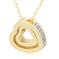 Wholesale Gold Swarovski Crystal Pendant - Double Love Heart Shape Pendant Necklace With Austria Crystal Swarovski Eternal Love Gold Silver Necklace For Women Wedding Jewelry