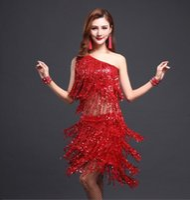 Wholesale Red Salsa Skirt - gold womens red sequin dance latin ballroom tango dresses fringe salsa tassel ladies black skirts with fringe dress competition