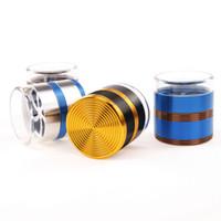 kräuter-trichter-metallschleifer großhandel-trichter metall tabak grinder 5 schicht aluminiumlegierung gewinde art transfer abdeckung herb grinder lieferung zufällig mit bunten