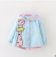 Wholesale Girls Polka Dot Cardigan - Baby girls princess windbreaker toddler kids giraffe polka-dots cardigan coat girls bows cotton Hoodies overcoat 2017 baby clothes G0317