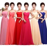 Wholesale Sweetheart Chiffon Bridesmaids Dresses - Cheap 2017 Country Style Long Bridesmaid Dresses Sweetheart Chiffon A-Line Formal Dresses Party Modest Maid Of Honor Dress