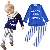 Wholesale Heart Shirt Girl Striped - Baby Girl Clothing Set New 2017 Autumn Fashion Letter Heart And Soul T-shirt+Striped Pants 2pcs Kids Clothes Set Toddler Girl Costumes