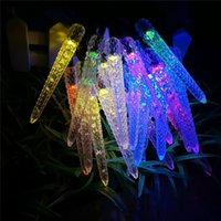 Luzes de Natal com LED Solar Powered 4.8M 20 LED Multi Colored Icicle Corn Solar Powered Fairy String Lights for Outdoor