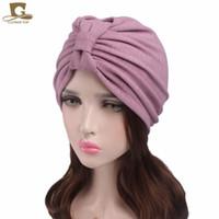 Wholesale Wholesale Vintage Beanies - 2017 New women Vintage bowknot Turban Hat Indian cap chemo bandana Wrap cancer hat Cap Chemo Hair Loss cap