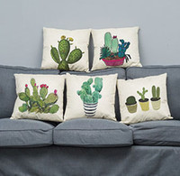 Wholesale Beige Bedroom Designs - Creative cushion cover 45cm square pillow case bolster cover printed plant series cactus colorful simple pattern lovely design for bedroom