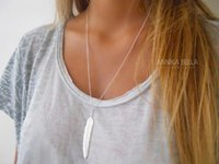 Wholesale Womens Silver Long Necklaces - Wholesale-1pc Fashion Womens Vintage Long Necklace Jewelry Silver Gold Plated Simple Feather Pendant Necklaces colar