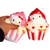 Wholesale Ice Cream Cone Toy - 10Pcs 12cm Jumbo Squishy Hello Kitty Ice cream cone Puff Cake Phone Strap Cat Charms Slow Rising Kid Toy Gift
