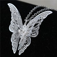 Wholesale Titanium Necklace Brands - Fashion Brand New Women Lady Girl 925 Sterling Silver Plated Butterfly Necklace Pendant Wedding Jewelry Valentine's Day