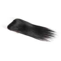 средние перуанские прямые волосы оптовых-Uglam перуанский девственные волосы прямые волосы закрытие 4X4 кружева закрытие необработанные человеческие волосы бесплатно/средний/три части закрытия Бесплатная доставка