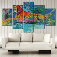 imagens de color animal venda por atacado-LeRoy Neiman, Animal cor Arte HD Canvas 5 Painel Wall Art Pintura A Óleo Texturizado Abstrato Pictures Decoração Sala de estar Decoração