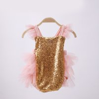 Wholesale Cute Childrens Clothes - Ins 2017 Infant Baby Girls Sequins Lace Rompers Toddler Princess Jumpsuits Babies Summer Cute Romper childrens clothing