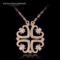 Wholesale Clover Design Necklaces - Brand Design Rose Gold Color Four Leaf Clover Style Rhinestones 2 in 1 Woman Pendant Necklace Wholesale