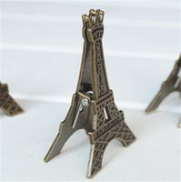 Wholesale Novelty Paper Clips - Vintage Eiffel Tower Card Stand Paper Clamp Bookmark Metal Clip Office Stationery --Christmas Gift Novelty Toys