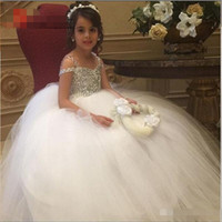Wholesale Girls Pageant Sparkly Dresses - Sparkly Crystals Flower Girls Dresses for Weddings 2016 Glitz Girls Prom Dress Floor Length Tulle Cheap Pageant Dress for Girls