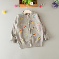 Everweekend Girls Candy Cartoon Вышитые трикотажные свитера с курткой Cute Baby Multi Color Sweet Spring Fall Outwears
