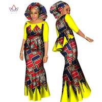 Wholesale Skirt Scarf - BRW African Dashiki Crop Top and Skirt Set African Clothing for Women Cotton Ruched Two Piece Skirt Set Free Head Scarf WY1437