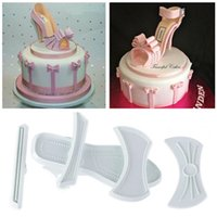 Wholesale Ladies Plastic Sandals - Wholesale- 9pcs set Brand New Shape Plastic Sandal Fondant Mold Lady High-Heeled Shoe Cake Baking Mould Hot YL882672