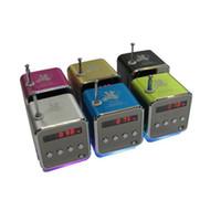Wholesale Digital Radio Mp3 Amplifier - TD-V26 Mini Portable Speaker Micro SD TF Card USB Disk MP3 Music Player Amplifier FM Radio digital speaker LCD display 6 colors (DY)