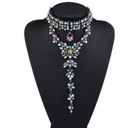 black diamond choker - hot sale Fashion jewelry lady glittering luxury colorful full rhinestone diamond crystal pendant designer statement choker necklace