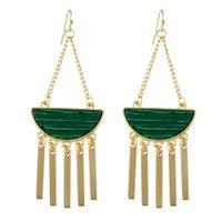 Wholesale Color Stone Earrings - New Boho Style Long Earrings Nature Stone White Green Stone Geometric Gold-Color Chain Tassel Earrings For Women J