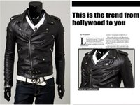 Wholesale Leather Punk Jackets Men - 2016 New Men's Slim Lapel Unsymmetric Slanting-Zipper Leather Motorcycle Jacket coat overcoat High quality 2 color P09