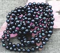 "Wholesale Pearl Tahiti - New 6-7mm Black real akoya Tahiti Cultured Pearl Necklace 50"" AA+"