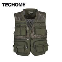 Wholesale Men Travel Vest - Wholesale- 2016 Summer New Brand Outdoors Travels esporte Vest Tops Mesh Men Vest Plus Size L-4XL Photographer Vests Multi Pockets Jacket
