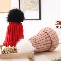 Wholesale Ladies Church Hats Cheap - new charm knit cap autumn winter Korea solid thick warm white black cute ball children adult high-grade chinese cheap soft ladies' hair hat