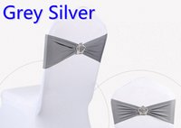 Wholesale Silver Chair Tie - Grey silver colour Crown buckle lycra sash for wedding chairs decoration spandex band stretch bow tie lycra ribbon belt on sale